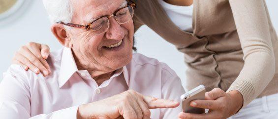 Elderly Man with Phone